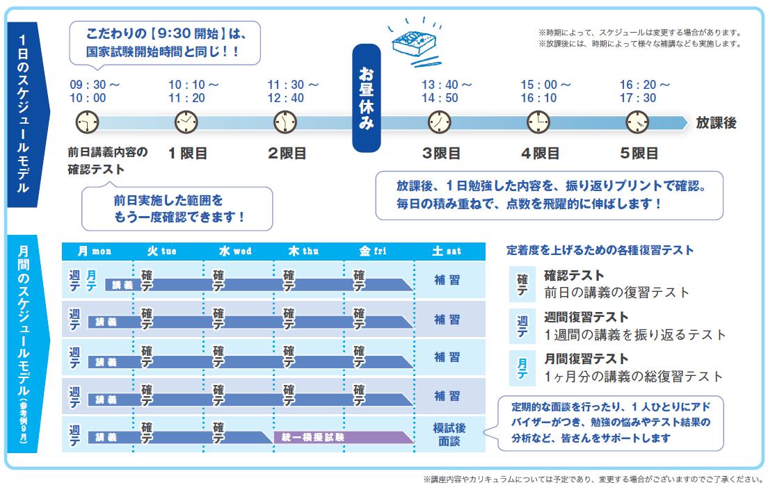 全日制コーススケジュール2021